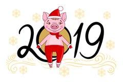 Porc de personnage de dessin animé dans un chapeau rouge et une écharpe illustration libre de droits