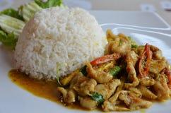 Porc de piment avec du riz de jasmin Image libre de droits