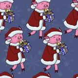 Porc de Santa avec le modèle de cadeaux illustration stock