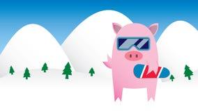 Porc de snowboarding illustration libre de droits