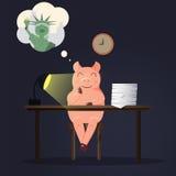 Porc de travail dans le bureau rêvant environ à New York Images libres de droits
