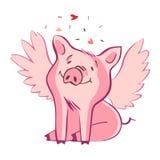 Porc drôle D'isolement sur le blanc Illustration mignonne de vecteur Symbole de l'année dans le calendrier chinois illustration stock