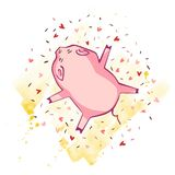 Porc drôle D'isolement sur le blanc Illustration mignonne de vecteur Symbole de l'année dans le calendrier chinois illustration de vecteur