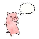 porc drôle de bande dessinée avec la bulle de pensée Photos libres de droits