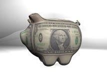 Porc du dollar avec le fond de sépia de texture Photographie stock
