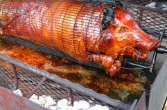 Porc entier étant rôti Images stock