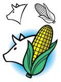 Porc et épi de dessin de blé Photographie stock