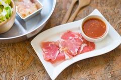 Porc et légumes coupés en tranches Photo stock