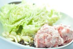 Porc et begetables frais Images libres de droits