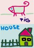 Porc et maison   Photographie stock libre de droits