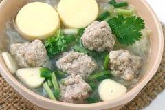 Porc et soupe hachés à lait caillé de soja Photographie stock libre de droits
