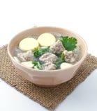 Porc et soupe hachés à lait caillé de soja Photo stock