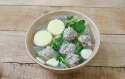 Porc et soupe hachés à lait caillé de soja Photo libre de droits