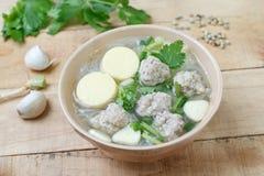 Porc et soupe hachés à lait caillé de soja Photos libres de droits