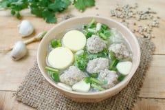 Porc et soupe hachés à lait caillé de soja Images libres de droits