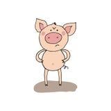 Porc fâché drôle mignon dans le style de bande dessinée Image libre de droits