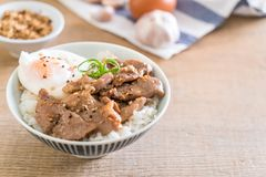 porc fait sauter à feu vif avec l'ail sur le riz complété avec l'oeuf images stock
