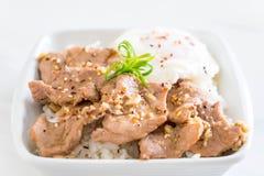 porc fait sauter à feu vif avec l'ail sur le riz complété avec l'oeuf photo libre de droits