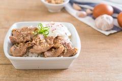 porc fait sauter à feu vif avec l'ail sur le riz complété avec l'oeuf photographie stock libre de droits