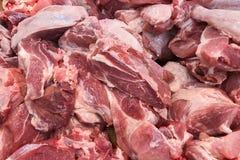 Porc frais rouge beaucoup de morceaux Photographie stock libre de droits