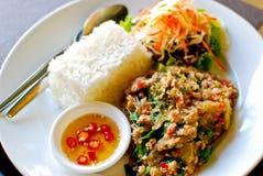 Porc frit épicé de type thaï avec du riz photographie stock libre de droits