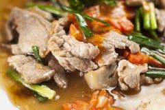Porc frit avec de la sauce à huître Photos stock