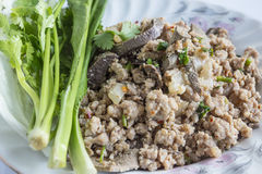 Porc haché épicé, nourriture thaïlandaise Photos libres de droits