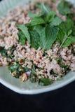Porc haché épicé thaïlandais avec le basilic doux Image libre de droits