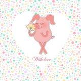 Porc heureux avec une fleur dans une main Autocollant mignon de porc de bande dessinée Image libre de droits