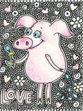 Porc heureux avec une fleur dans une main Porcin mignon dans le style de bande dessinée sur le backgraund blanc avec des coeurs Photos stock