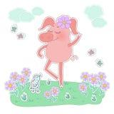 Porc heureux avec une fleur sur sa tête Autocollant mignon de porc de bande dessinée Photographie stock libre de droits