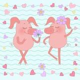 Porc heureux avec une fleur sur sa tête Autocollant mignon de porc de bande dessinée Photo libre de droits