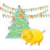 Porc jaune de la terre et arbre de nouvelle année, le symbole de 2019 illustration de vecteur