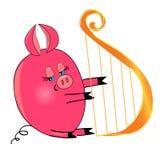 Porc jouant l'instrument musical. caractère d'isolement Photos stock