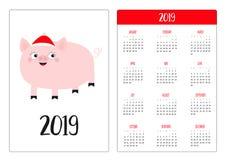 Porc mignon porcin Santa Red Hat Année de la disposition de calendrier de poche nouvelle 2019 simples La semaine commence dimanch illustration libre de droits