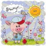 Porc mignon sur le pré avec des fleurs illustration stock