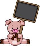 Porc mignon tenant le tableau illustration de vecteur