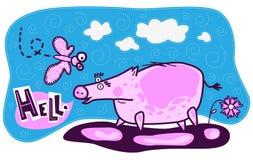 Porc, papillon et fleur Image stock