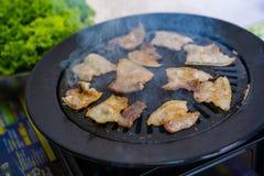 Porc rayé de glissière pour le barbrcue coréen image libre de droits