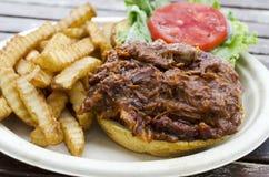 Porc/sandwich au poulet tirés Photographie stock libre de droits