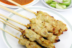 Porc satay Photographie stock