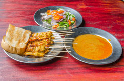 Porc satay avec de la sauce Photo stock
