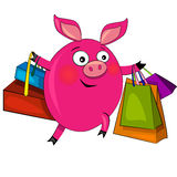Porc sur des achats de mode. illustration. Image stock