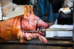 Porc sur une broche Images libres de droits