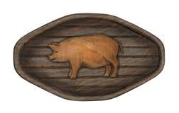 Porc sur une enseigne en bois de fond photos libres de droits