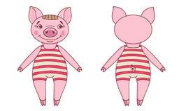 Porc utilisant un collant de danseur dans un style de bande dessinée illustration libre de droits
