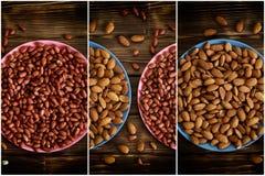 Porcas Amêndoas e amendoins em placas coloridas em uma tabela de madeira fotografia de stock royalty free