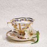 Porcelain  antique tea cup and saucer with flower Royalty Free Stock Photos