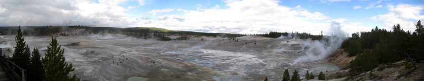 Porcelain Basin in Yellowstone (USA). Panoramic view of Porcelain Basin in Yellowstone National Park (Wyoming, USA Stock Images