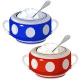 Porcelain blue and red bowl with spoon isolated Stock Photo